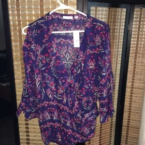 Navy Floral Bell-Sleeve Wrap Blouse